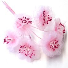 Pale Pink Organza Summer Blossoms x6